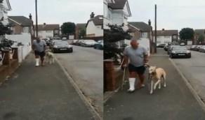 شاهد.. كلب يدعي المرض ليواسي صاحبه المصاب بكسر