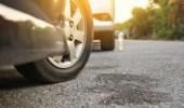 أضرار ركن السيارة والإطارات مدارة بزاوية
