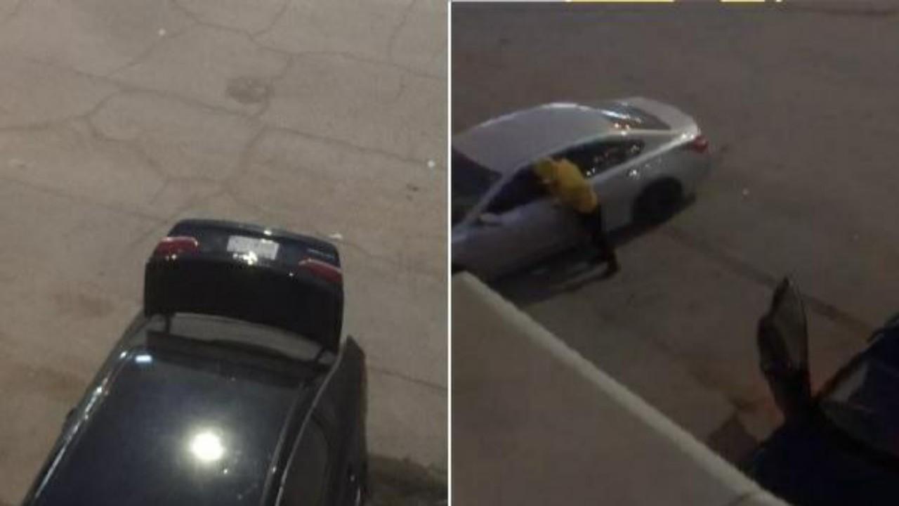 شاهد.. لصان يحاولان سرقة مركبة مواطن من أمام منزله بالرياض