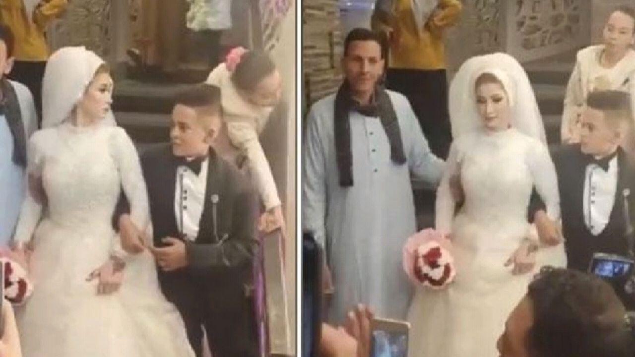 شاهد.. فيديو لحفل زفاف أصغر عريس يثير ضجة
