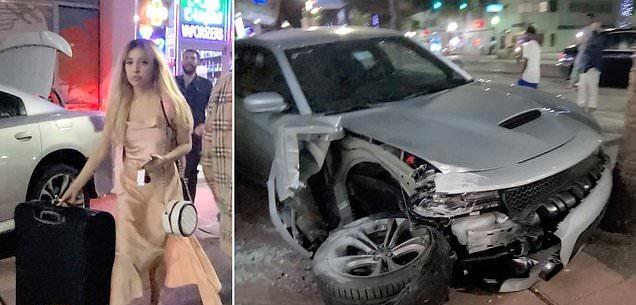 بالفيديو.. فتاة تقتحم واجهة أحد المتاجر بسيارتها الرياضية