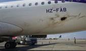 شاهد..صور أولية للطائرة المدنية التي تأثرت بمحاولة الاستهداف الحوثية في مطار أبها