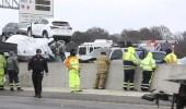 بالفيديو.. حادث مروري ضخم لـ 100 سيارة على طريق سريع في نفس الوقت