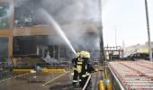بالصور.. اندلاع حريق في مركز تجاري بالرياض