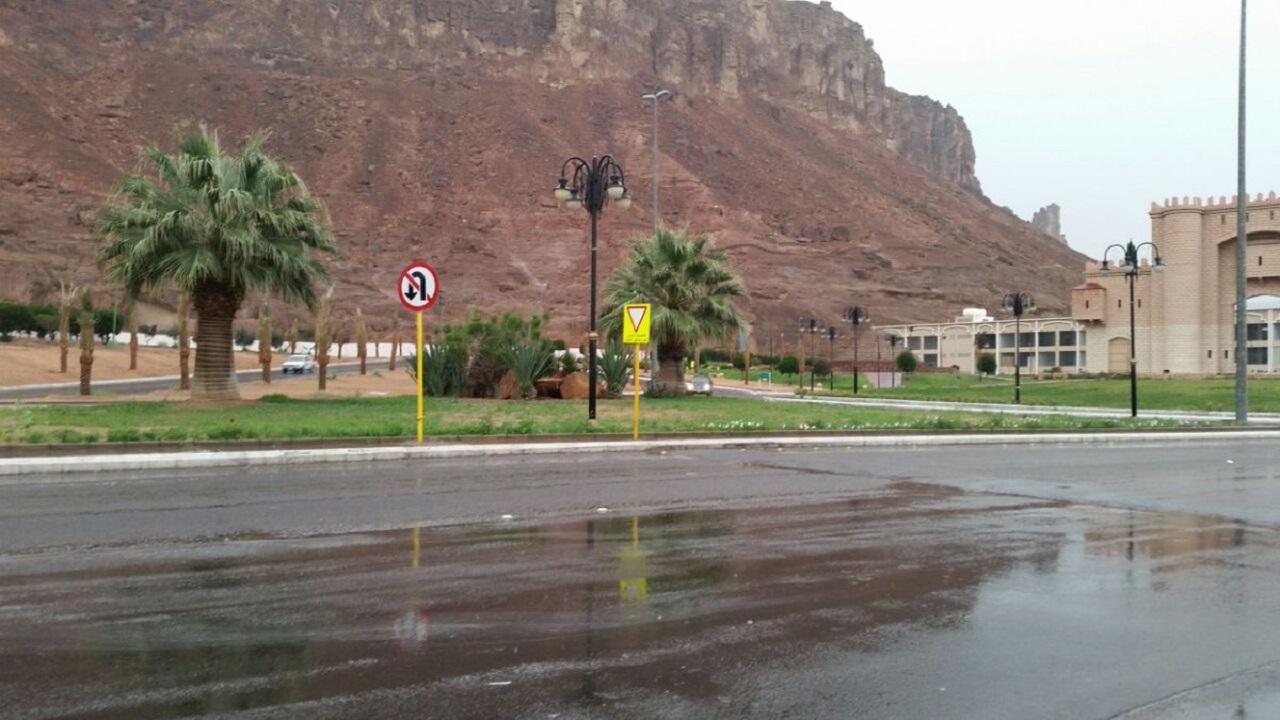 أمطار رعدية على محافظة العلا