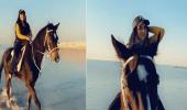 بالفيديو.. زينب العسكري تستمتع برحلة مع حصان