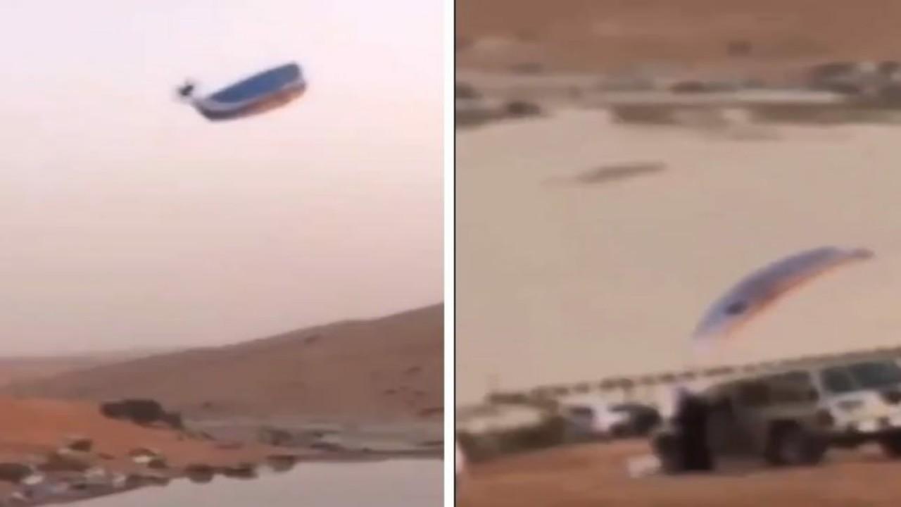 فيديو يوثق لحظة سقوط طائرة شراعية فوق مركبة متوقفة فيالمزاحمية
