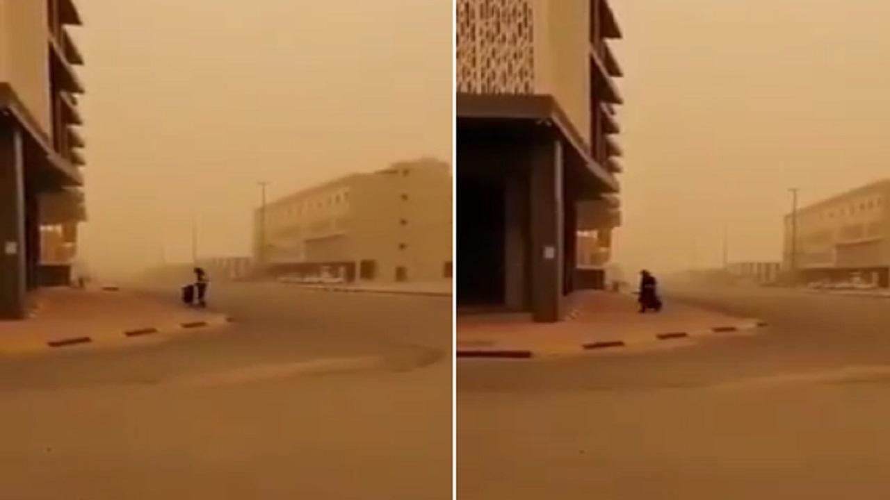 بالفيديو.. عامل نظافة يقوم بعمله في عنيزة رغم سوء الأحوال الجوية