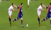 بالفيديو.. لاعب إشبيلية يضرب ميسي بطريقة كوميدية لإيقافه