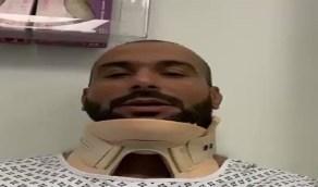 """بالفيديو.. أول ظهور لـ يزيد الراجحي بعد إصابته في """" رالي الشرقية """""""