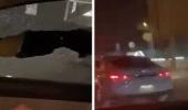بالفيديو.. سيدات يهشمن زجاج سيارة ويقمن بحركات خادشة للحياء بإحدى الطرق