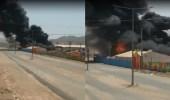 بالفيديو.. إندلاع حريق هائل بخيمة تسوق في العرضيات