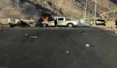 بالصور.. حادث مروع يؤدي لتفحم 4 أشخاص وإصابة آخرين في نجران