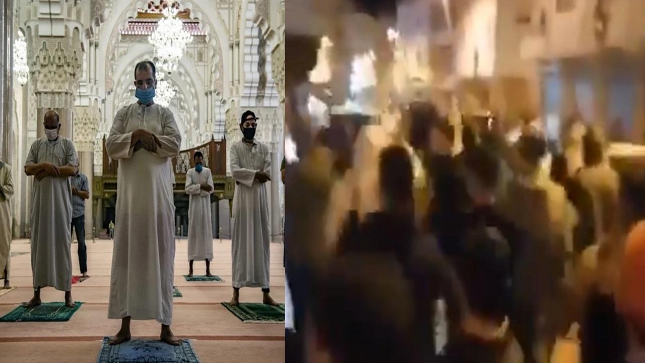 """شاهد.. مغربيون يتظاهرون: """"الشعب يريد صلاة التراويح"""""""