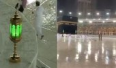 """"""" شؤون الحرمين """" تزيل آثار الأمطار الغزيرة التي هطلت اليوم على المسجد الحرام"""