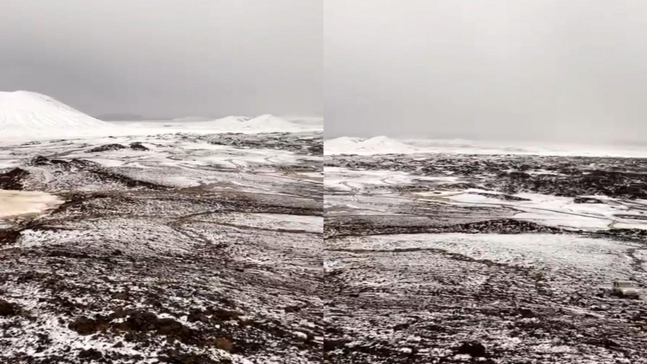 بالفيديو.. لحظة تحول الصخور البركانية من الأسود إلى الأبيض في حائل