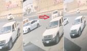 شاهد.. لحظة انقاذ شاب لـ عائلة داخل مركبة تحركت دون سائق