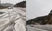 بالفيديو.. شوارع المندق تكتسي بالبياض بسبب البرد