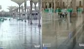 بالفيديو.. أمطار غزيرة على المسجد النبوي اليوم