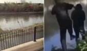 صبي يعتدي على عجوز ويدفعه في نهر متجمد