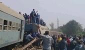 بالصور.. إصابات في حادث انقلاب قطار بمصر