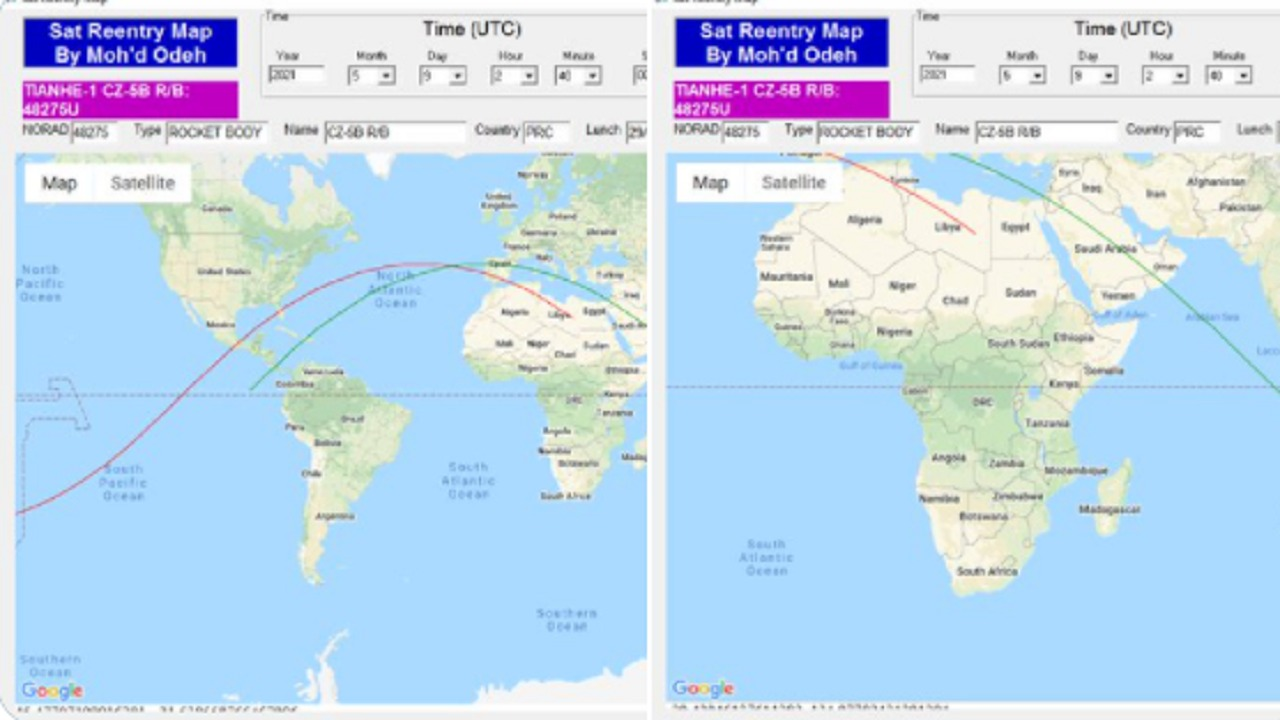الفلك الدولي: معظم الدول العربية خارج دائرة الخطر لحطام الصاروخ الصيني باستثناء 4 دول