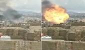 شاهد .. انفجار هائل في محطة بترول باليمن