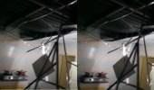 بالفيديو.. تحطم سقف أحد المنازل إثر صاعقة قوية
