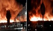 بالفيديو.. اندلاع حريق هائل في مصنع لانتاج المنظفات في إيران