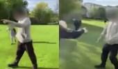 بالصور.. رجل يهدد أطفالًا بسكين داخل حديقة