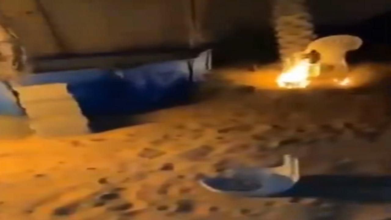 بالفيديو.. لحظة اشتعال حريق بأحد المنازل بسبب الألعاب النارية