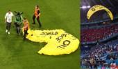 صور..مشجع يهبط بمظلته على ملعب مباراة ألمانيا وفرنسا في يورو 2020!