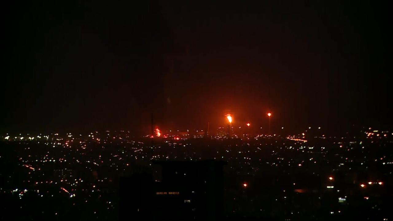 استمرار حريق مصفاة طهران وانفجار خزان