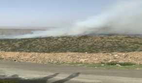اندلاع حريق فيمرتفعات جبليةبالباحة