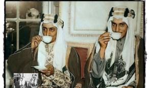 الملك فيصل والملك خالد ولقطة لهما في شبابهما