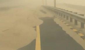 """بالفيديو .. """"الغبار"""" يدفن طريق بالرمال ويعرقل السير بطرق أخرى في الكويت"""