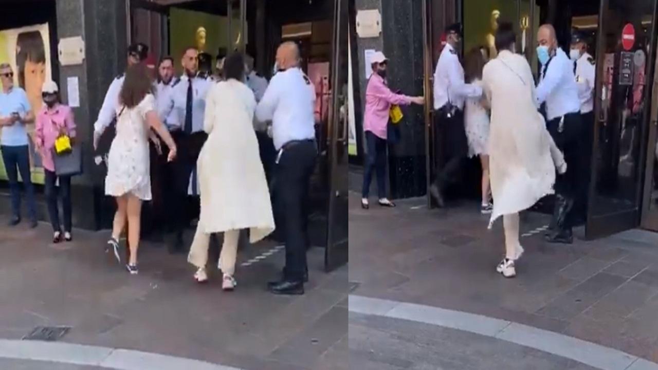 فيديو.. سيدة تبصق على رجال الأمن لرفضهم دخولها بدون كمامة