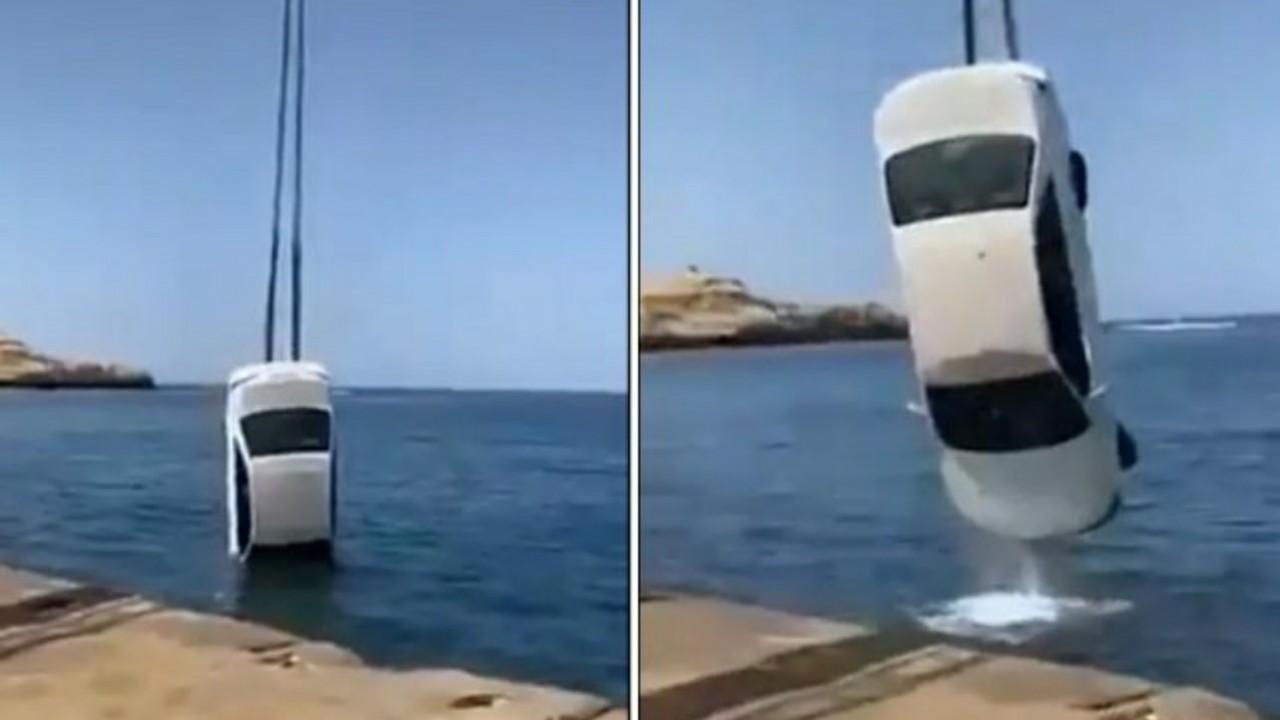 شاهد.. لحظة انتشال سيارة مواطن بعد سقوطها في البحر بتبوك