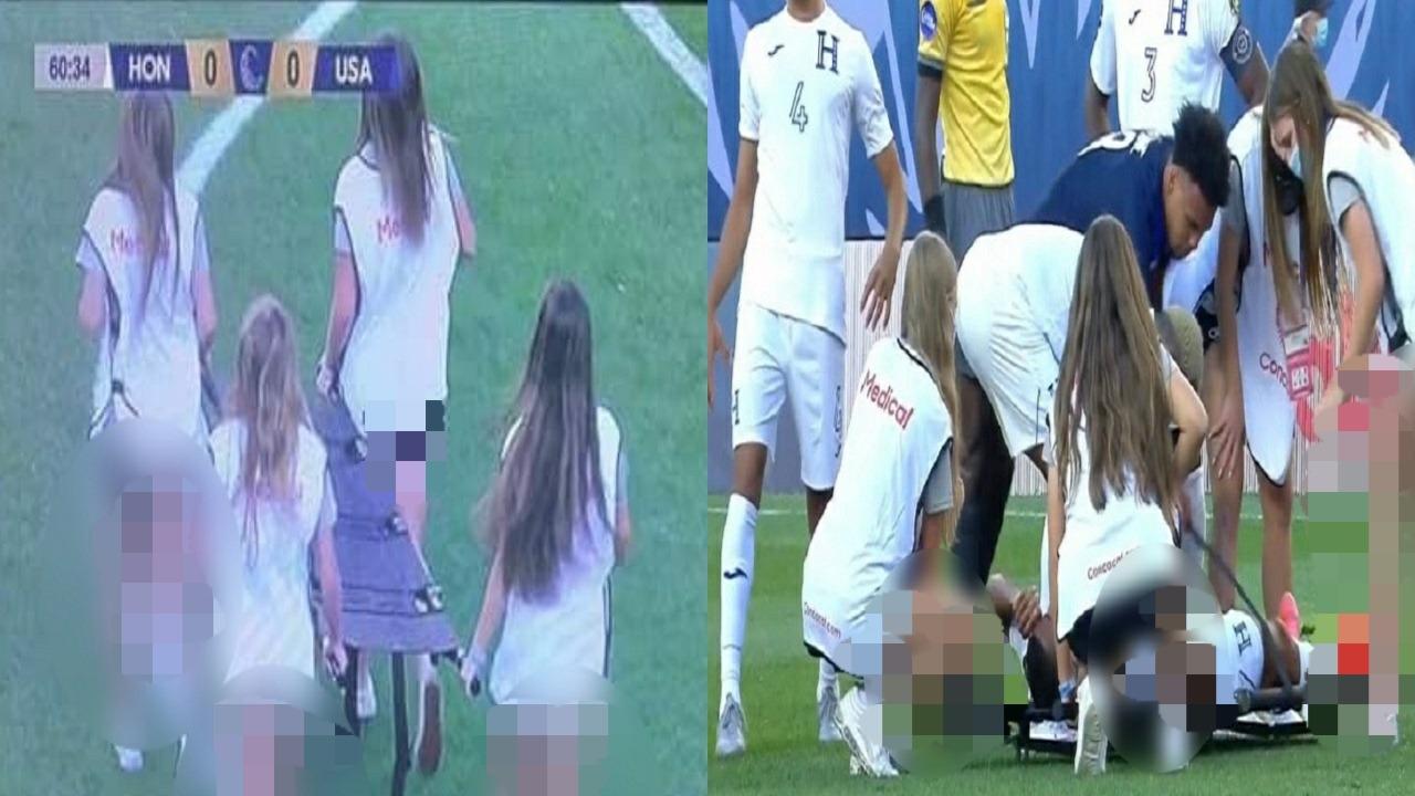 طاقم إسعاف نسائي بملابس قصيرة للمرة الأولى في ملاعب كرة القدم
