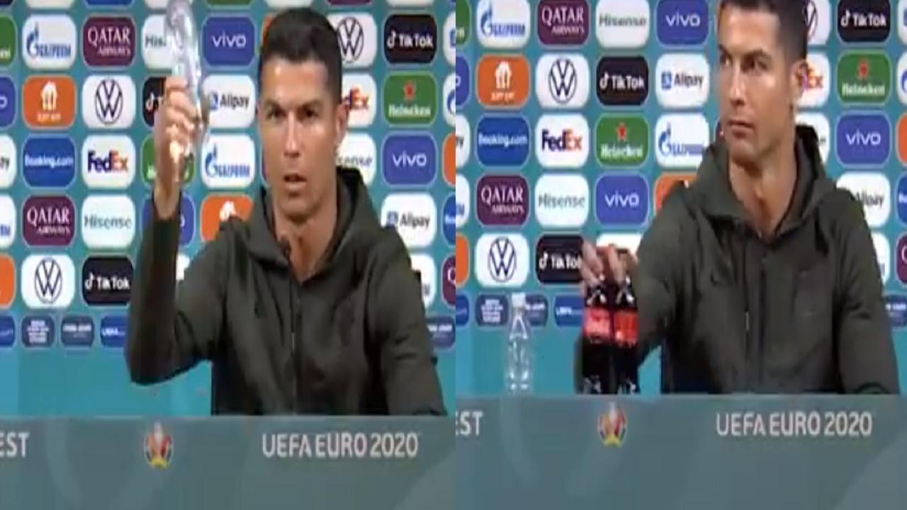 """بالفيديو.. رونالدو يزيح زجاجتين """"كوكاكولا"""" من أمامه: """"اشربوا الماء"""""""