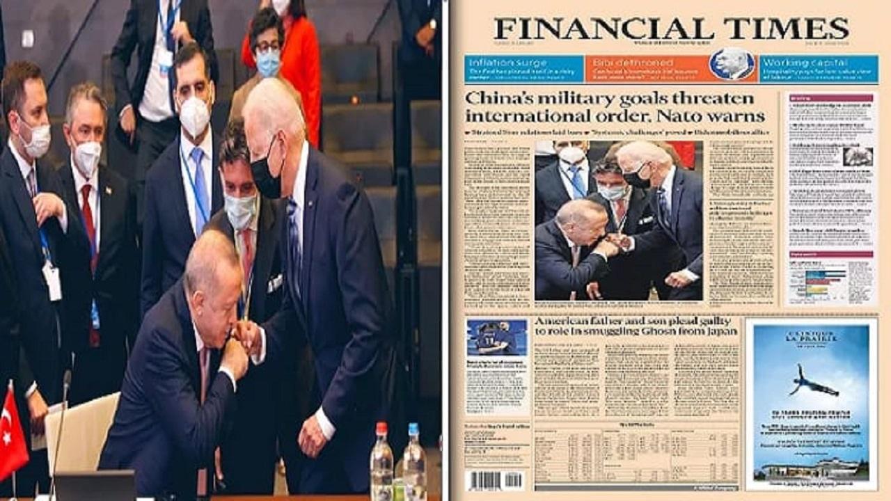 انتقادات تركية واسعة لأردوغان لتقبيله يد بايدن وصحف عالمية تبرز صورته المثيرة