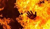 رجل يشعل النيران في زوجته في لحظة غضب !