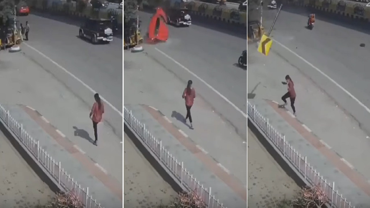 بالفيديو.. لحظة سقوط سيارة على المارة بأحد الشوارع