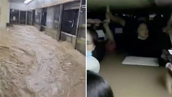 بالفيديو.. حصار المئات داخل عربات المترو في الصين بسبب الفيضانات