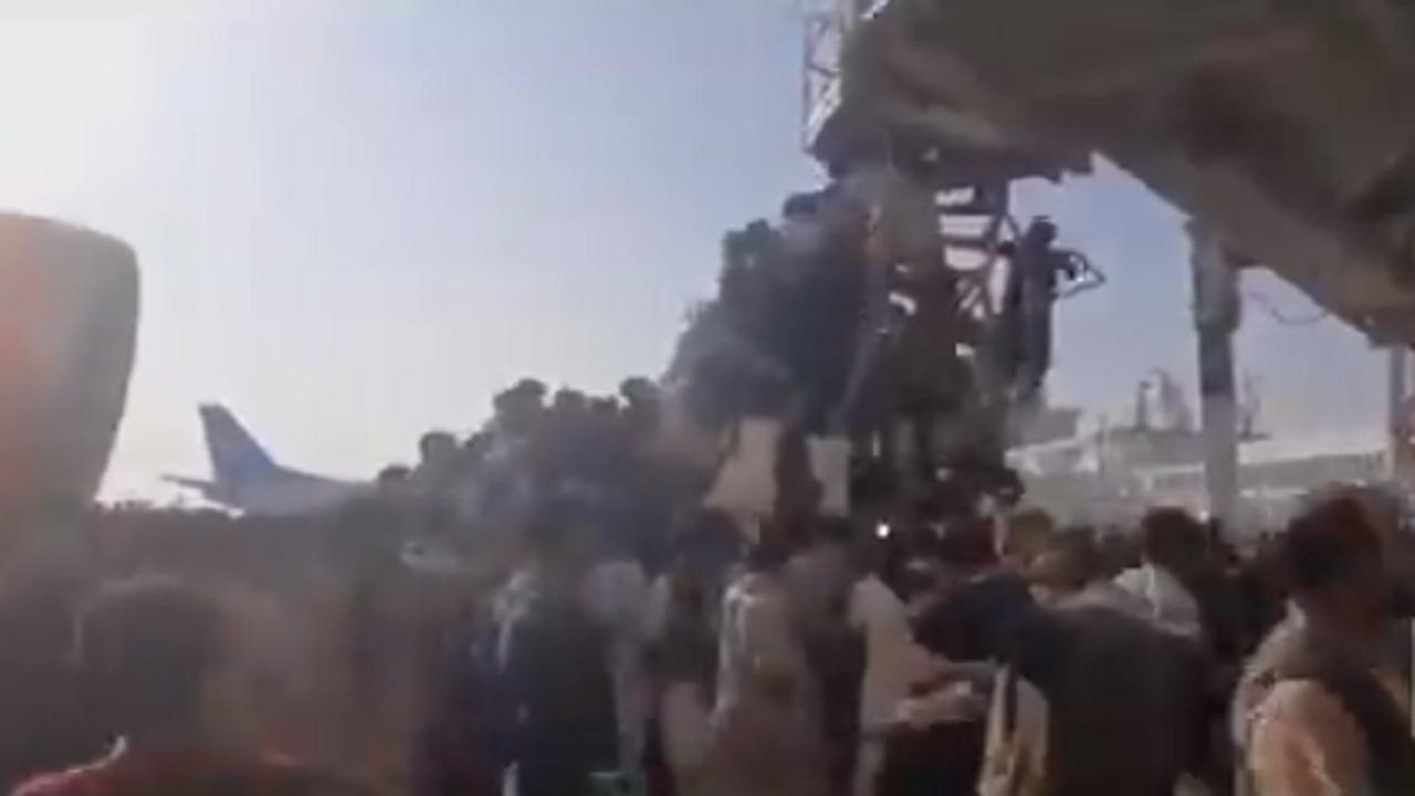 بالفيديو   مشهد مأساوي.. لحظة سقوط شخصين من طائرة أثناء إقلاعها من مطار كابول.. تعلقا بعجلاتها