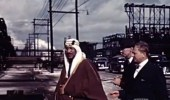 فيديو نادر يوثق زيارة الملك سعود لمصانع الزيت في تكساس