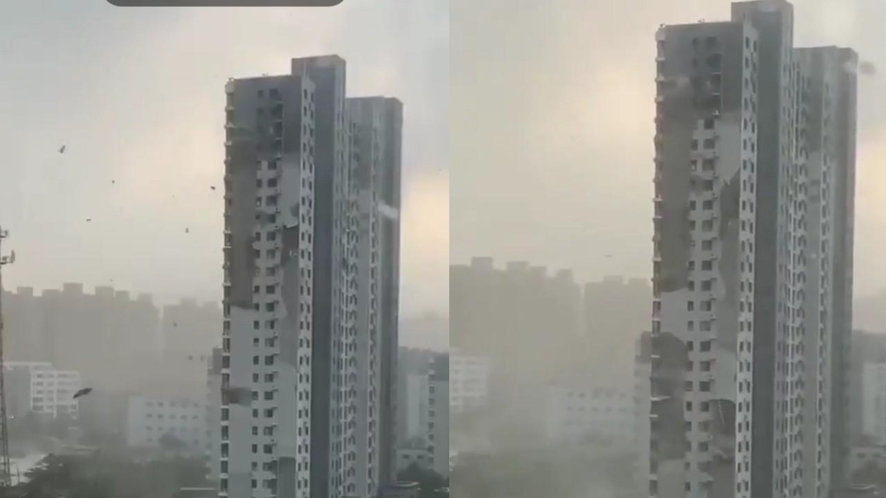 بالفيديو.. أضرار خطيرة في برج سكني بالصين بسبب قوة الرياح