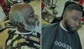 مصفف شعر يقوم بتحويل عجوز إلى شاب