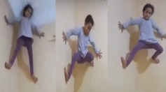 بالفيديو.. طفلة تتسلق الجدران بطريقة العنكبوت