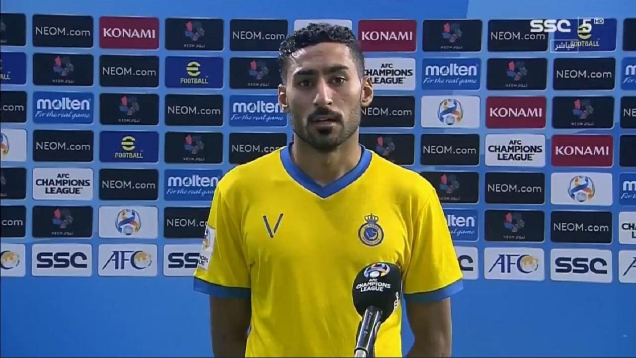 """لاعب النصر: قدمنا صورة جيدة رغم نقص اللاعبين """"فيديو"""""""